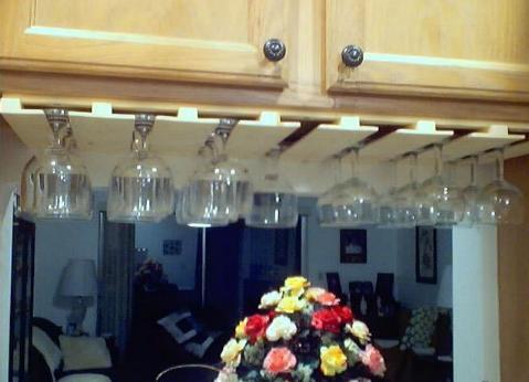 Custom Made Wooed Wine Glass Rack For A Pass Through